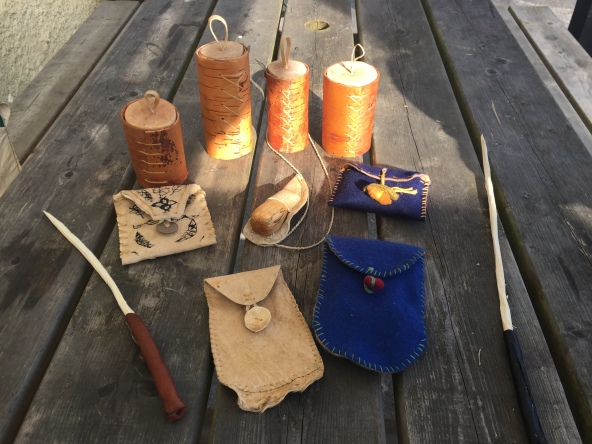 bark boxes, wands, buckskin and felt pouches